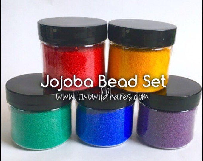 RAINBOW JOJOBA BEADS Set, 5 Colors, 20/40 Exfoliant, Safe Alternative to Microbeads, 1 oz each (5 oz total)