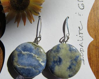 Hand Made Blue Sodalite and Sterling Dangle Earrings