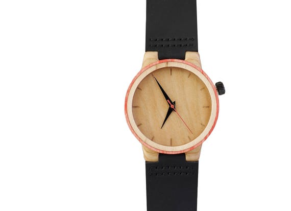 7PLIS watch #096 Recycled SKATEBOARD #madeinfrance red beige black wood
