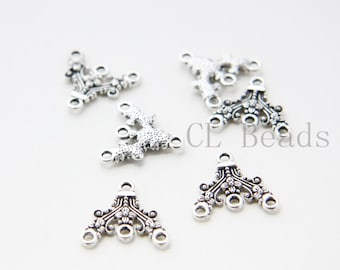 30pcs Oxidized Silver Tone Base Metal 1 to 3 Component -  Triangle 18x17mm (13978Y-E-521)