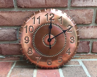 Copper Clock Rustic Classic Design 10 Inch Metal By West Tinworks