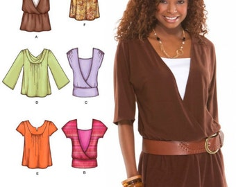 KNIT TOP Sewing Pattern - 6 Misses Tops 5 Sizes Simplicity 3790