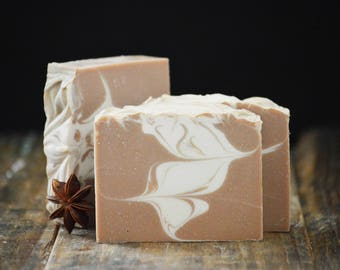 Chai Tea Soap | Cozy Scented Artisan Soap, Swirled Handmade Soap, Vegan Homemade Soap, Handcrafted Cold Process Soap Bar, Fragrant Soap