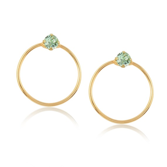 Crystal Stud Hoop Earrings (Mini) in Chrysolite green
