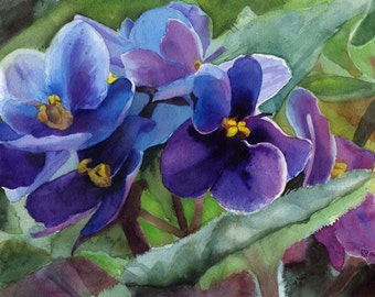 African Violet Flower Floral art Print Purple Lilac Large Big Huge Small Watercolor Painting Teen Girls Gift