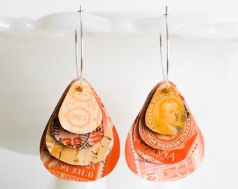 Teardrop earrings | Postage stamp | International | Orange | Layered Hoops