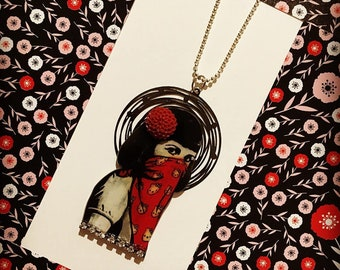 """""""Red stone"""" scarf girl necklace"""