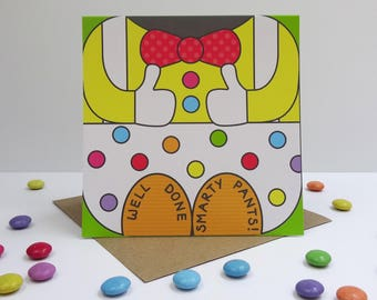 Smarty Pants greeting card - face card, funny, well done, exam, graduation, promotion