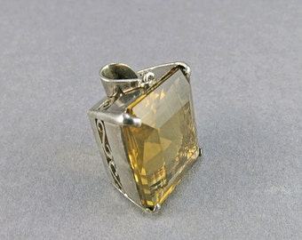 Vintage Quartz Pendant In Sterling Silver Faceted Smokey Quartz Gift For Her