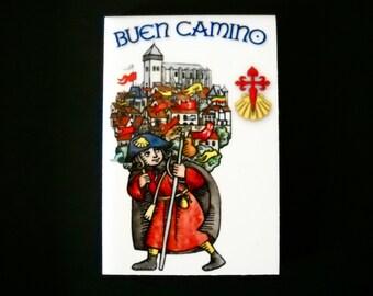 Camino de Santiago Pilgrim Buen Camino Magnet Tile