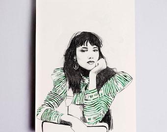 Anya Stripe Fashion Illustration Print, Fashion Sketch, Fashion Wall Art, Fashion Art, Fashion Poster, Fashion Drawing, Fashion Watercolor