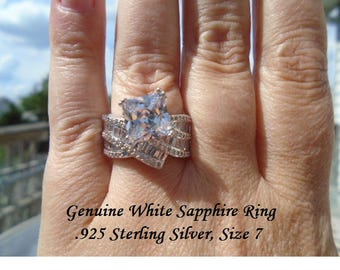 White Sapphire Ring Size 7