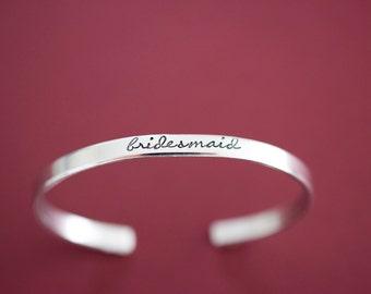 Bridesmaid Bracelet - Handstamped Bridal Jewelry - Skinny 1/5 inch