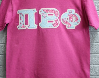 Raspberry Comfort Color with Pi Beta Phi Lilly Fabric on Glitter