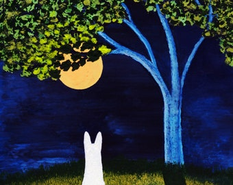 White German Shepherd Dog art Print of Todd Young painting SPRING FULL MOON