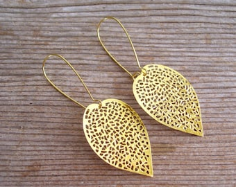 Gold Filigree Leaf Earrings, Gold Leaf Earrings, Boho Earrings, Filigree Earrings, Elongated Leaf Pierced Dangle Earrings