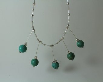Choker Silver Beaded Necklace with Turquoise Dangles