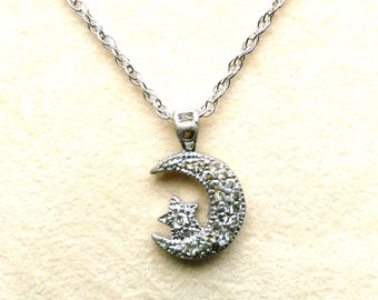 Vintage Sterling Silver Pave Necklace. 925 Marked Silver Moon and Star Pendant . Half Moon Night - Crescent Moon by enchantedbeas on Etsy