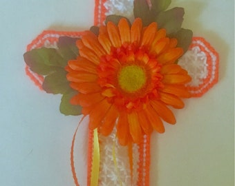 Floral Cross Wall Hanging, Church Decor Cross, Christian gift, sympathy gift