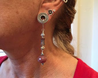 Tunnel earrings in agate and silver Bali bead