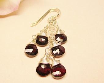 Garnet Earrings, Garnet Cluster Earrings, Long and Dangle Earrings, January Birthstone, Gemstone Earrings