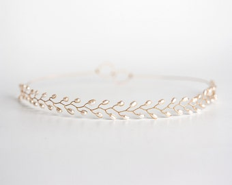 White pearl diadem Wedding gold headband Gold pearls diadem Headband for bride Wedding white headband Wedding hair accessory 689