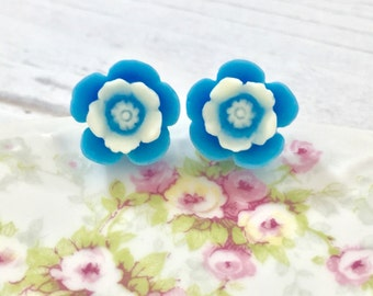 Cornflower Blue Daisy Flower Resin Stud Earring with Off White Center and Surgical Steel Posts Made to Order (SE10)