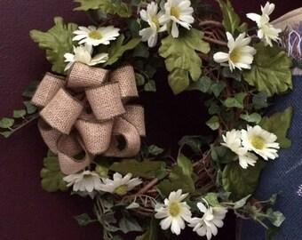 Small Front Door Wreath, Summer Wreath, Spring  Wreath, Daisy Grapevine Wreath, Daisy and Ivy Front Door Wreath, Front Door Wreath