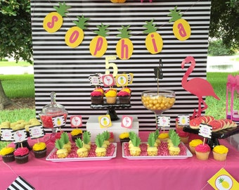 Pineapple and Pink Flamingo Party Printable Collection