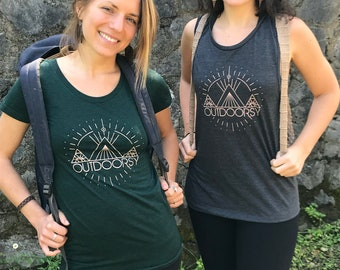 OUTDOORSY Racerback Tank / Ladies Tee/ Muscle Tee