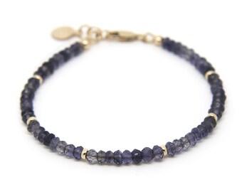 Iolite gemstone bracelet.