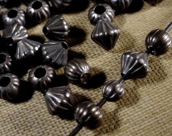 25   50 pc 3mm 4mm 5mm Mix Vintage Brass Bead Dark Patina Corrugated Spacer Brown Black Oxidized Bronze Natural Patina Jewelry Finding Lot