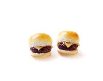 Plain Cheeseburger Post Earrings, Miniature Food Jewelry, Polymer Clay Food Earrings, Cheeseburger Jewelry, Cheeseburger Earrings