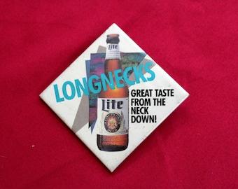 Vintage Miller Lite Pin. 80s Beer Pin. Beer Drinker Gift. Miller Lite Longneck 90s Square Pin. Berr Drinker Gift. 90s Beer Gift. Miller Lite