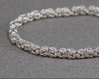 Delicate Sterling Bracelet 20g Byzantine Silver Handmade Chainmaille