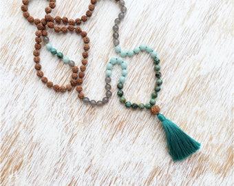 Mala Necklace, Amazonite Agate Jasper Mala Beads, Mala Beads 108, Mala Bead Necklace, Rudraksha Mala, Turquoise Necklace, Rudraksha Necklace