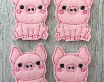 Pink Pig Feltie Set of 4 - Animal Feltie - Farm Feltie - Barnyard Feltie