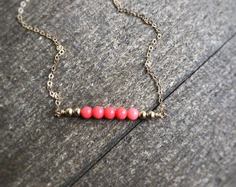 14k gold filled pink coral bead bar necklace / bridesmaid / dainty / minimalist / October birthstone