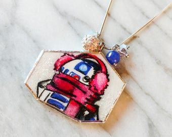 Winter R2D2 Inspired HAND DRAWN Upcycled Pendant Sterling Silver Necklace with Swarvorski Crystals