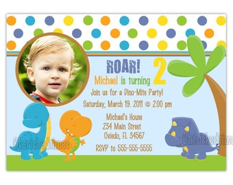 Sweet Dinosaurs Photo Card Invitation Boy or Girl (You Print)