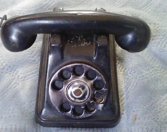 Vintage 1940's Rubber Rotary Dial Phone