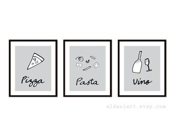 Pizza Pasta e Vino Art Prints - Set of Three Prints - Italian Food Art - Kitchen Wall Art - Home Decor - Gray and Black - Aldari Art
