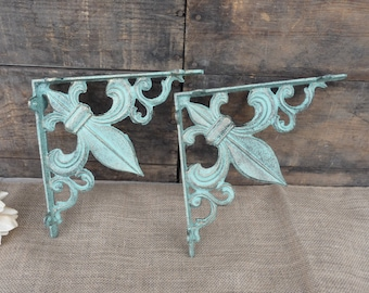Set of 2 FLEUR DE LIS Brackets - Aqua/Turquoise & Gold Accents - Cast Iron Shelf Brackets - Tuscan Old World Rustic - Wall - Corner Trims