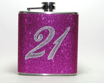 Happy 21st Birthday! Your Pick Flask Color!  Rhinestone & Hot Pink Sparkly Glitter 6 oz Size Stainless Steel Liquor Hip Flask Flasks