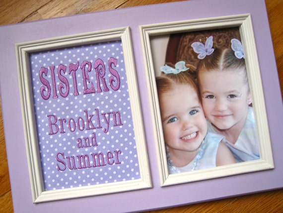 Sister GIFT Sisters 5x7 Personalized Picture Frame Lavender polka ...
