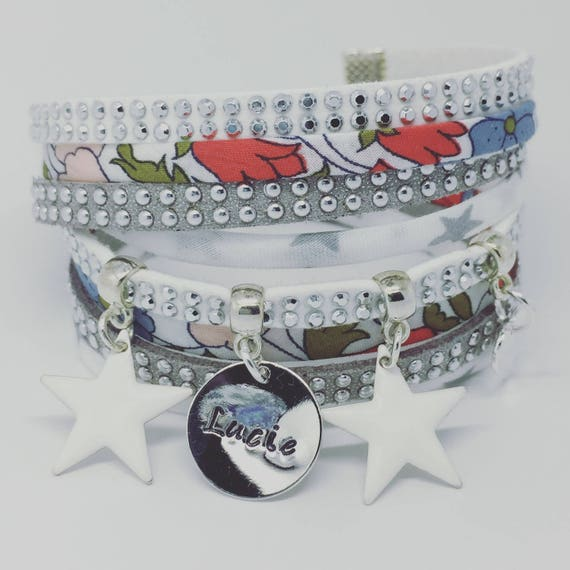 Personalized Bracelet multi strand Liberty Poppy & Daisy with personalized engraving by Palilo