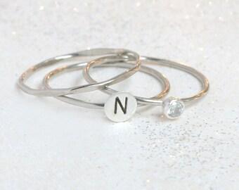 WHITE gold stacking rings. birthstone ring. initial ring. SET. cz diamond ring. SOLID 14k palladium white gold stacking rings. personalized.