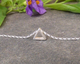 Triangle Pendant Necklace, Sterling Silver, Dainty Necklace, Geometric Necklace, Layering Necklace
