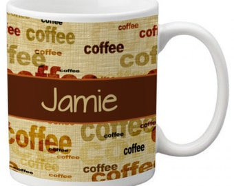 CUSTOM personalized Coffee Mug Cup for Kitchen or Home Tan Brown Band with pattern Any color monogram