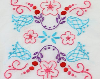 Folk Art Flowers Embroidery Design Hand Embroidery Pattern Hungarian Embroidery Design